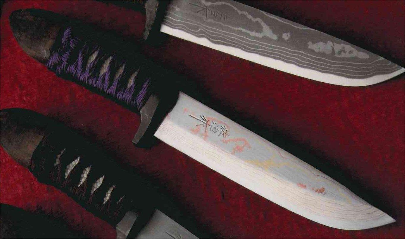 武士有色ダマスカス鋼紫