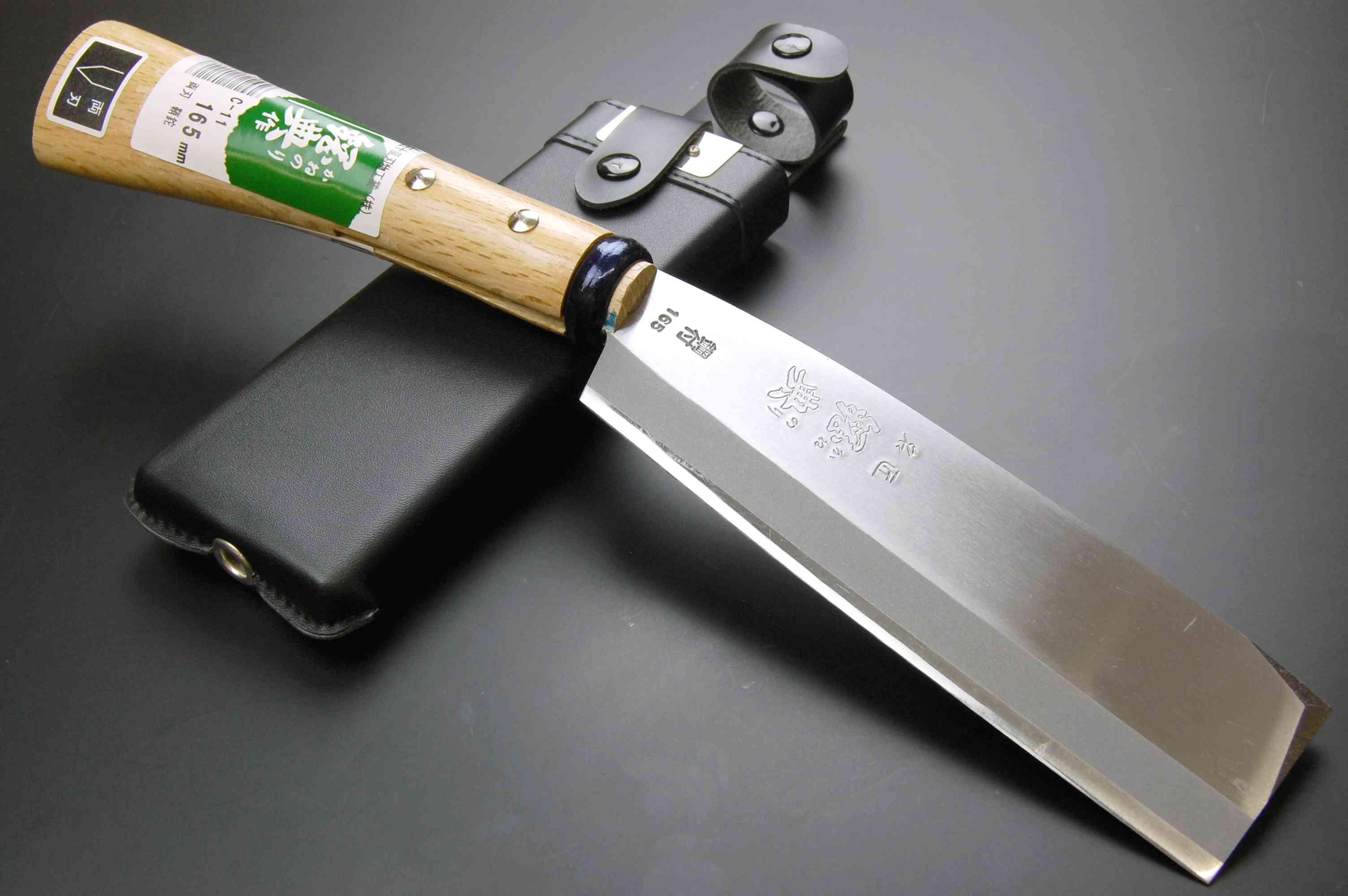 鋼典 鍛造鋼付両刃鞘鉈165mm