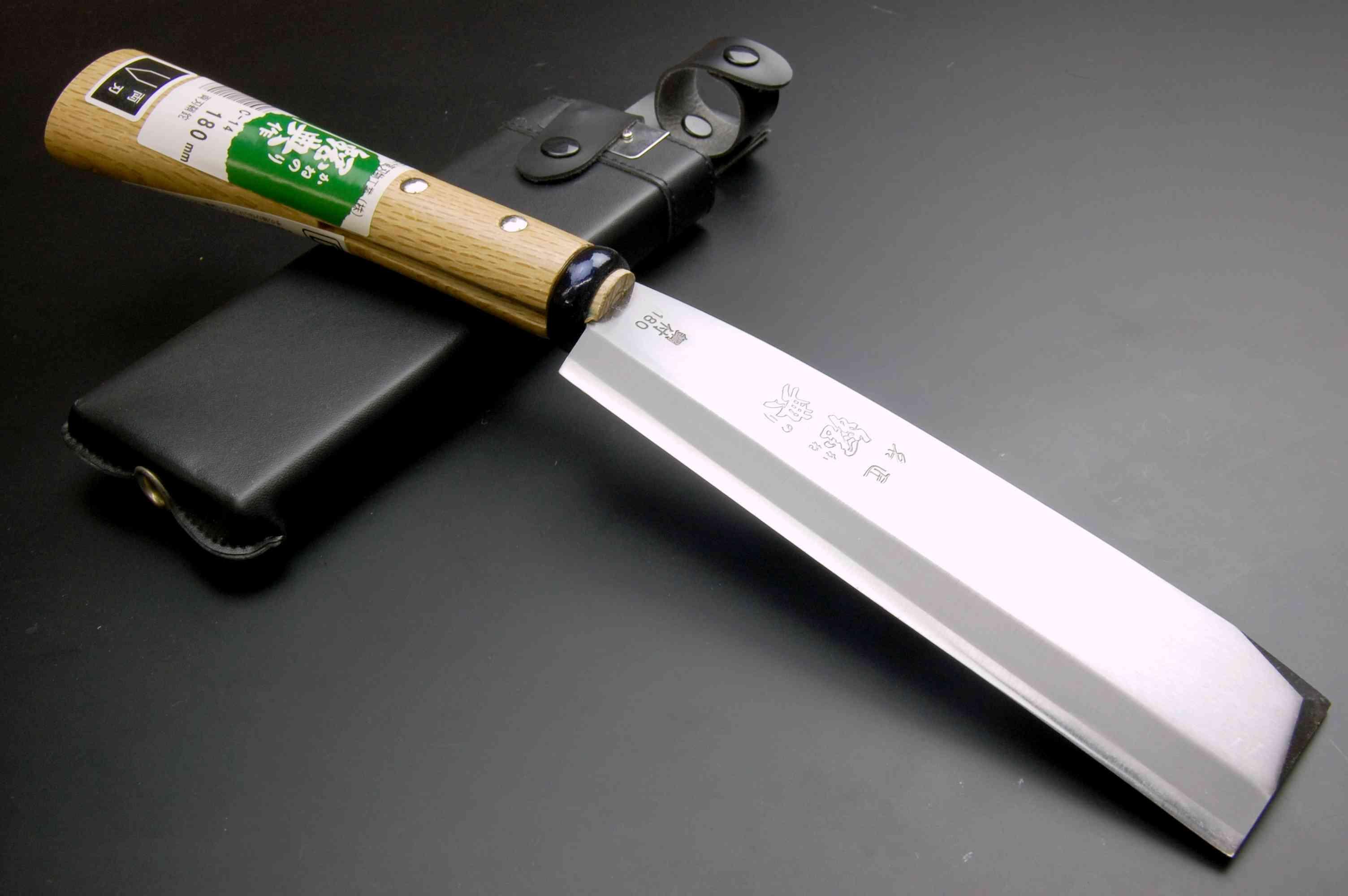 鋼典 鍛造鋼付両刃鞘鉈180mm